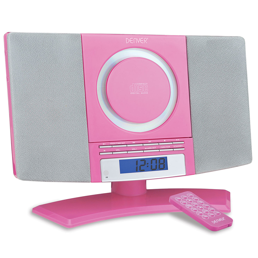 Denver Mc 5220 Pink Cd Player Wall Mountable Micro System