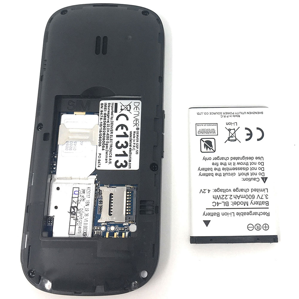 Denver Gsp 120 Senior Mobile Phone With Big Buttons Sos Quick Call Simple Battery Charger Button Back