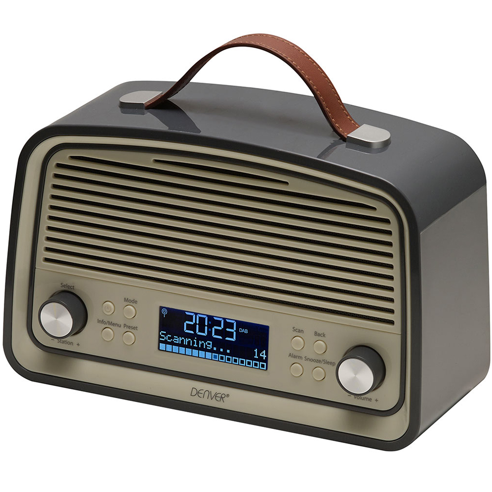denver dab 38 grey portable dab fm digital radio with. Black Bedroom Furniture Sets. Home Design Ideas