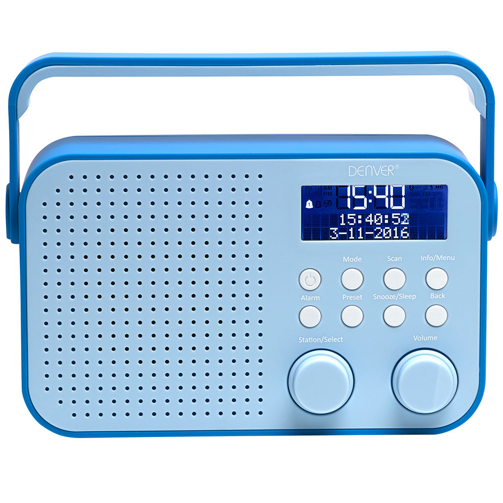 denver dab 39 blue portable dab fm digital radio with. Black Bedroom Furniture Sets. Home Design Ideas