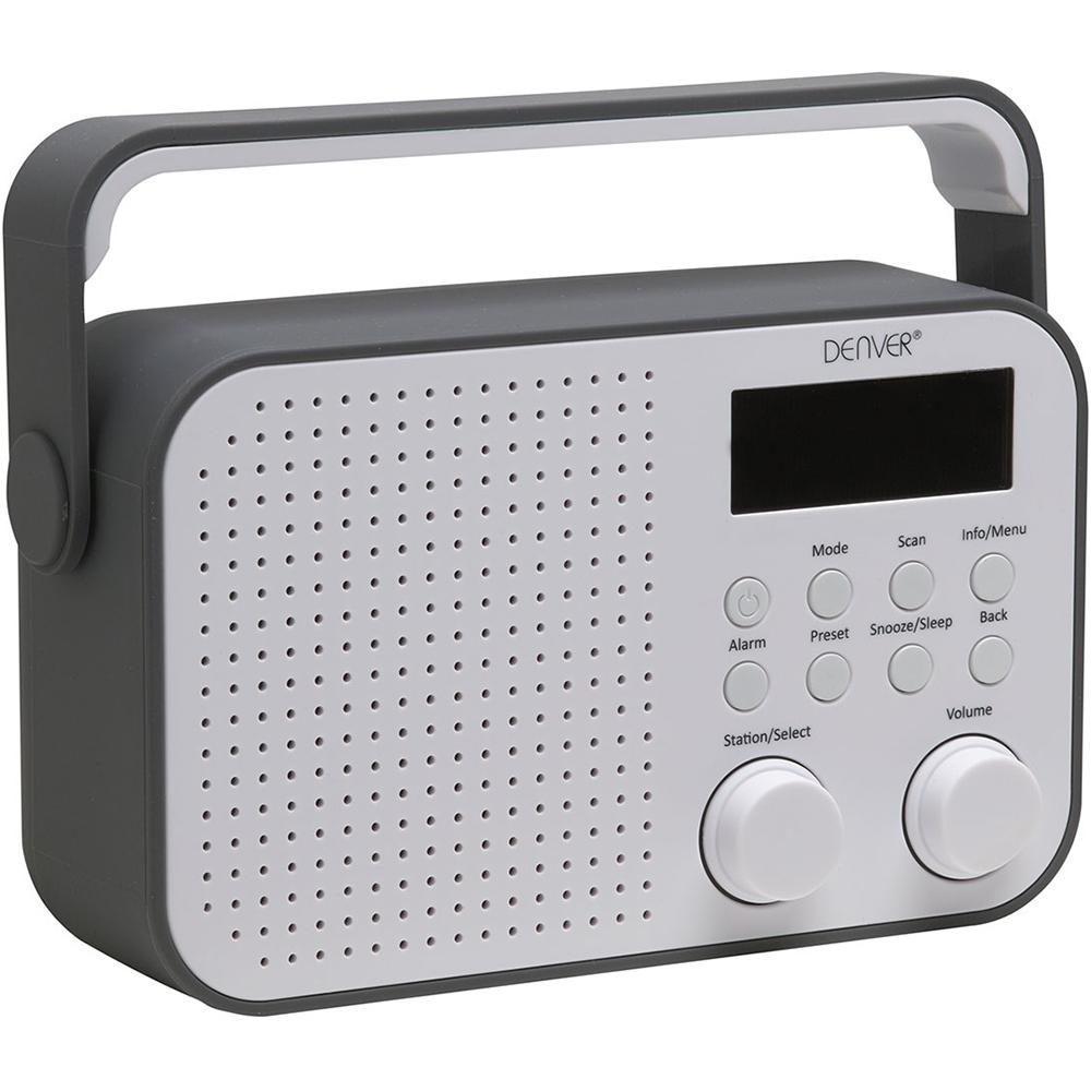Opdateret DENVER DAB-39 GREY PORTABLE DAB+ FM DIGITAL RADIO WITH ALARM CLOCK OE58