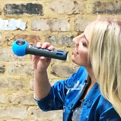 DENVER KMS-10 WIRELESS BLUETOOTH KARAOKE MICROPHONE SPEAKER - BLUE -  3wisemonkeys 084c2218e6cdc