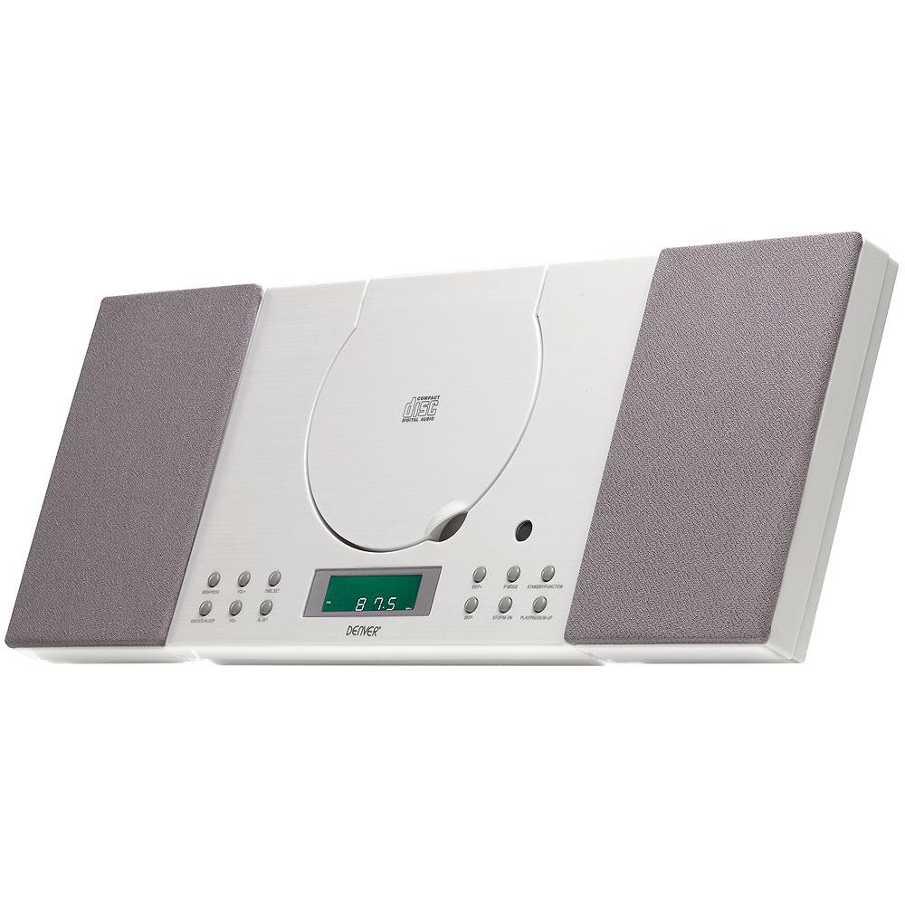 Denver Mc 5010 White Cd Player Wall Mountable Fm Radio